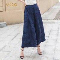 VOA широкие брюки палаццо Mujer брюки шелковые брюки для женщин; Большие размеры зимние Dames Broeken свободные офисные Pantolon дамы Deep Blue K836