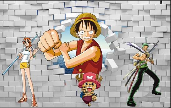Custom 3d Murals 3d Stereo Cartoon Characters Breaking Down The Wall