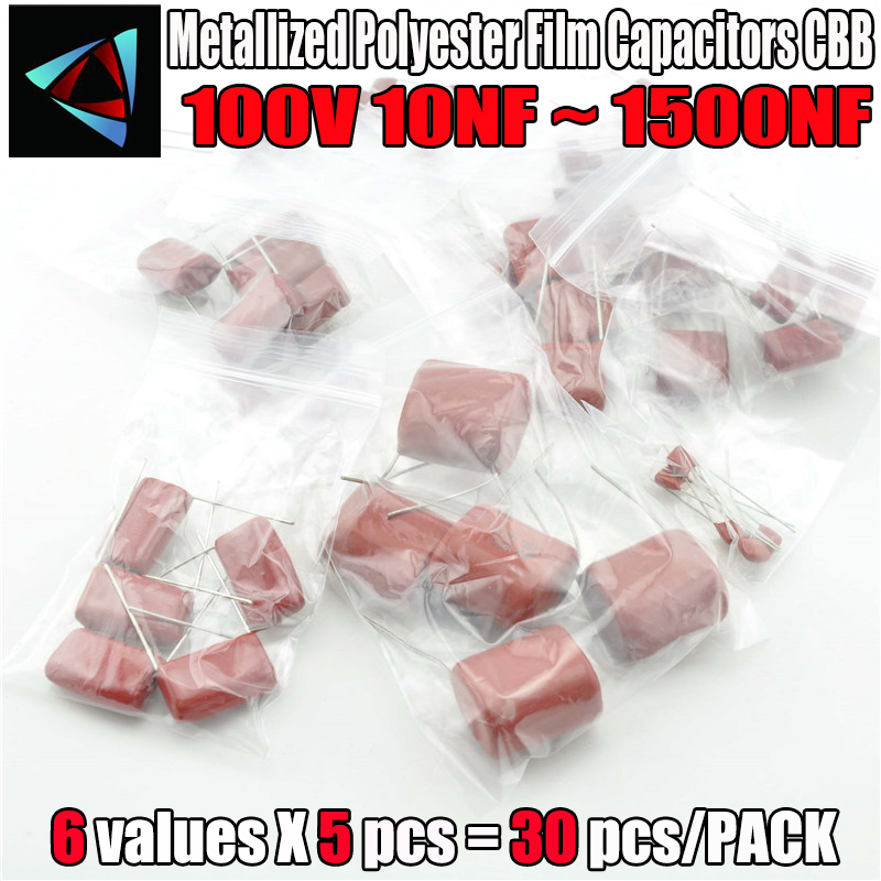 400V CBB Capacitor Assorted Kit,Sample Bag,6ValuesX5PCS=30PCS,400V / 103J 473J 104J 334J 105J 155J,No Polarity AC Capacitor