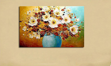 Hand Painted Modern Palette Knife vase Flower Oil Painting on canvas Wall Paintings On The Wall Picture Canvas Art home Decor