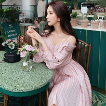 Dabuwawa 2019 New Autumn Womens Slim Waist Temperament  Shoulder Strap Dress Pink Elegant Striped DN1CDR015