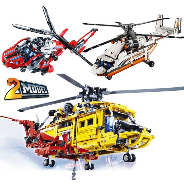 Compatible legoed 42052 Technic MOC sets Rescue Heavy Lift Helicopter  Motorized building blocks children kid toys