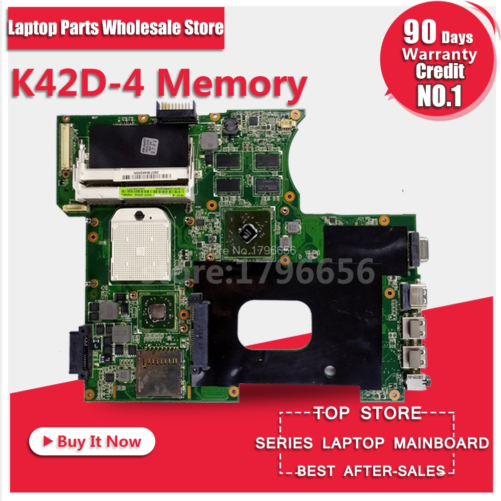Laptop Motherboard For ASUS K42DR K42D K42DE K42DY A42D X42D 4 Memory 512M System Board Main Board Mainboard Card Logic Board k42dr hd5470 1gb mainboard rev 2 3 for asus a42d k42d k42dy k42dr laptop motherboard 2 slots 100% tested working free shipping
