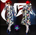 HOT ! 2016 spring new fashion men singer nightclub DJ right Zhi-Long GD long section colored gemstones suit coats dress costumes