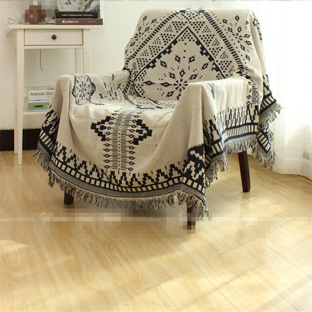 sofa free shipping europe bed for game room 100 cotton thread style plaid throw single double size black white geometric leisure blanket bedspread