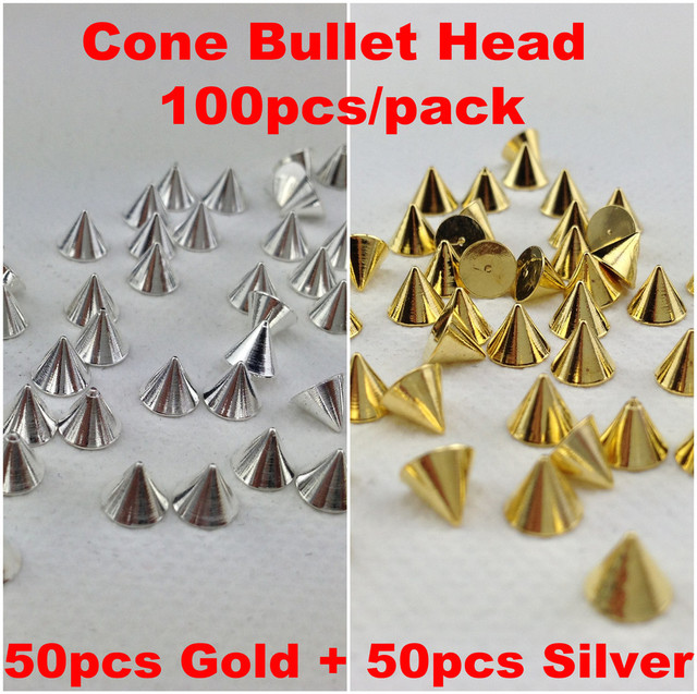 100pcs/pack Punk Rock Metal Alloy Gold&Silver Cone Bullet Head Spike Studs Rivet Salon 3D Nail Art Tips Phone Design Decoration