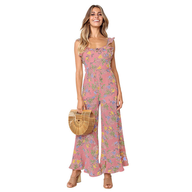 One Piece For Women Elegant Long Pants Combinaison Femme Floral Jumpsuit Overalls 2019 Summer Backless Sleeveless Jumpsuits Boho