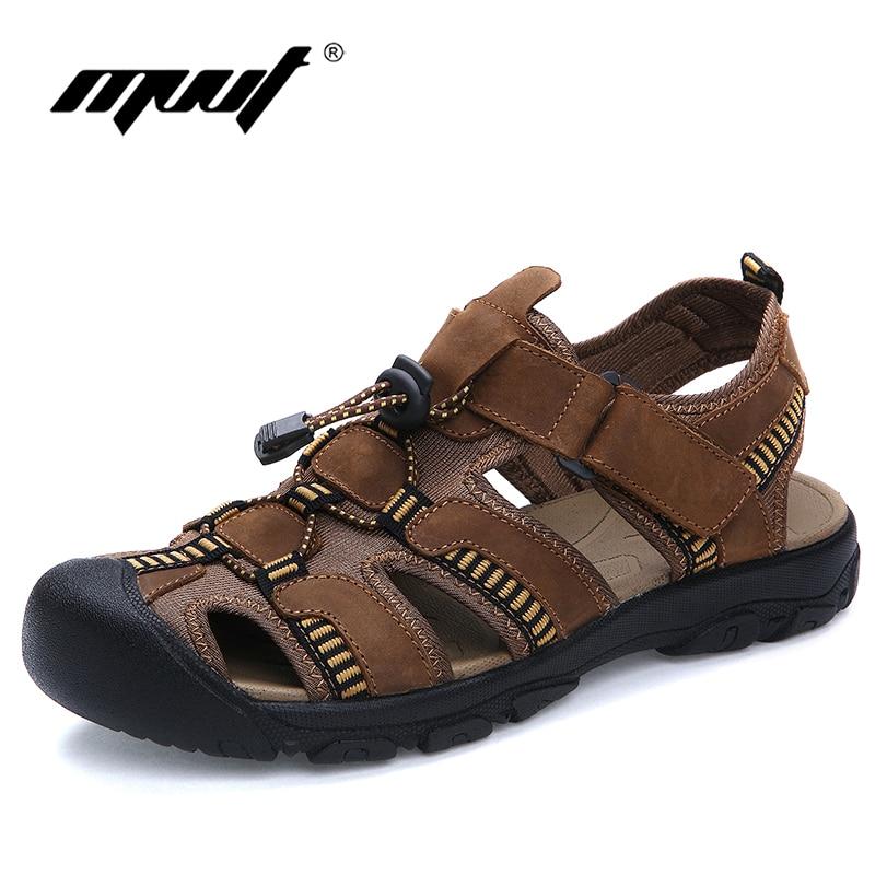 Kakovost in velikost 47 sandali moški udobje pristen usnje moški sandali klasika poletje sandali moški nedrsečimi na prostem sandale na plaži