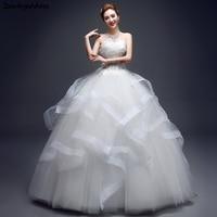 Real Photo Elegant White Lace Strapless Wedding Dresses Corset Cascading Ruffles Bridal Dresses 2018 Plus Size Wedding Gowns
