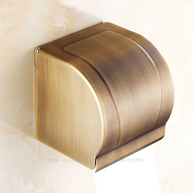 Free Shipping Wholesale And Retail Bathroom Toilet Paper Carton Tissue Paper Roll Holder Box Antique Brass