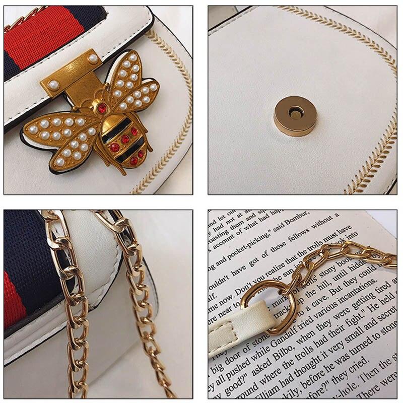 Imitation Designer Bags Fashion Bee Shoulder handbag for women Luxury Round PU Cross body Chain Bag Pearl Metal Lock Women 39 s Bag in Shoulder Bags from Luggage amp Bags