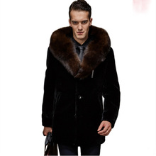 2017 New Arrival Mens Luxury Fur Coats Turn Down Collar Slim Faux Fur Jackets Outerwear Parka Overcoat Big
