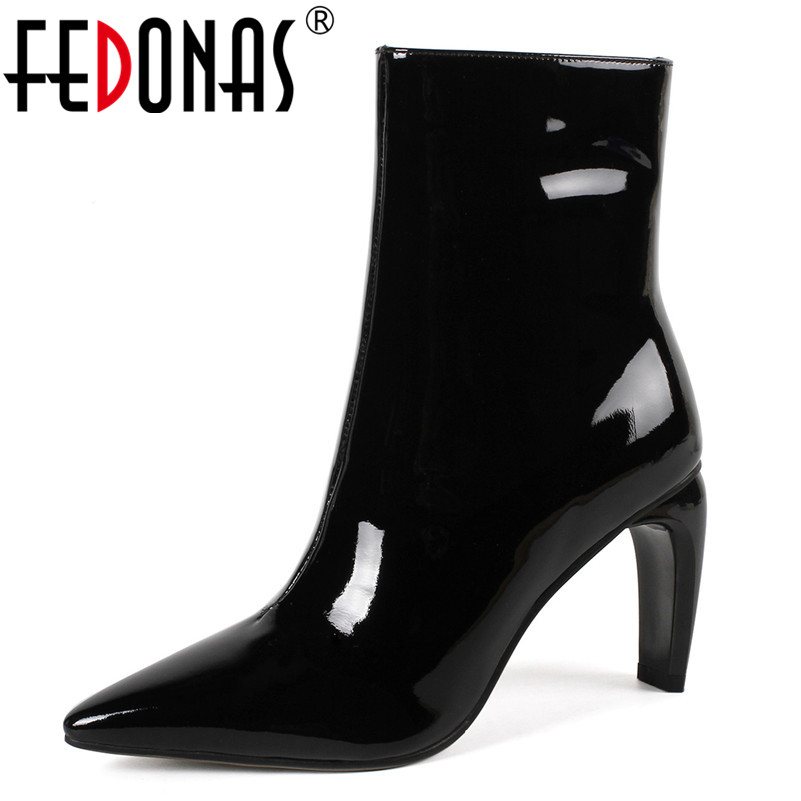 цена на FEDONAS Punk Women Patent Leather High Heels Ankle Boots Sexy Pointed Toe Zipper Autumn Winter Short Martin Shoes Woman Pumps