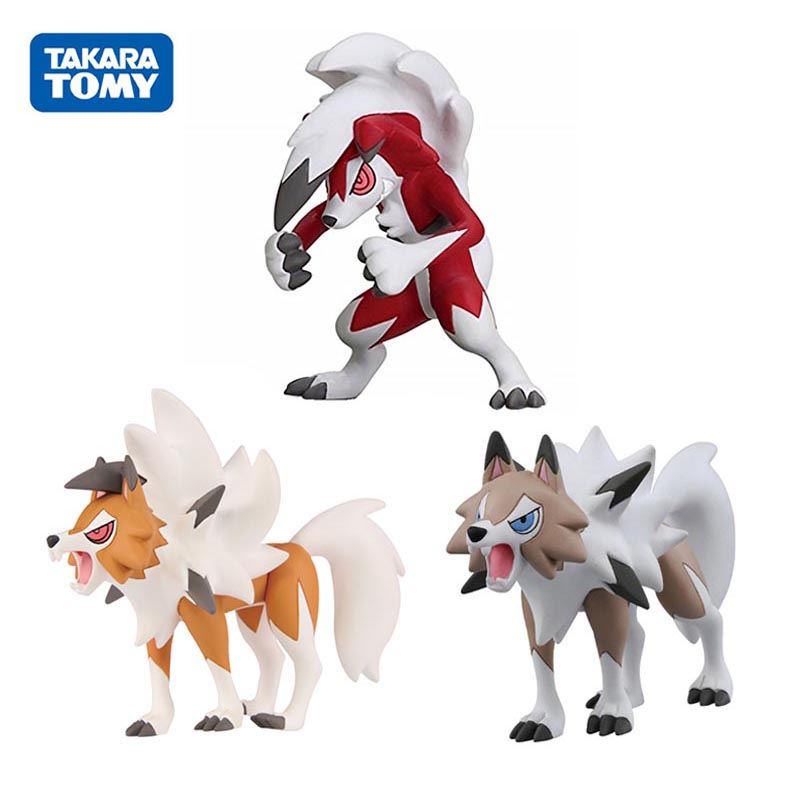 TAKARA TOMY POKEMON Anime Sun and Moon Pokemon Lycanroc Evolution Figure Toys Model Collection Action Toys Gifts for Children