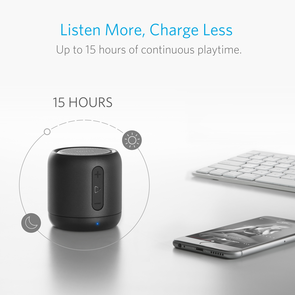 anker soundcore mini portable bluetooth speaker with 15-hour playtime, 66-foot bluetooth range and enhanced bass microphone