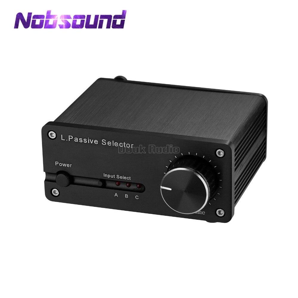 Nobsound HiFi Mini Selettore Passivo Pre-Amplificatore 3-IN 2-OUT Audio Preamplificatore Volume Regolabile di Controllo del Microcomputer