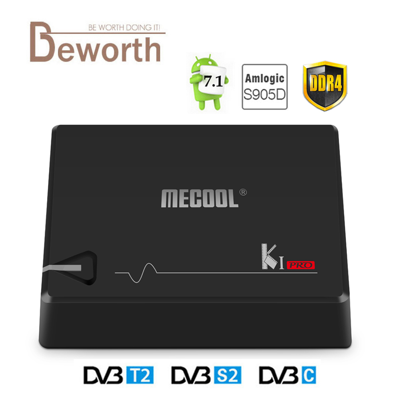 MECOOL KI PRO DDR4 Android 7.1 TV Box DVB DVB-S2 T2 Amlogic S905D Quad 2G+16G Set Top Box CCCAM NEWCAMD 2.4/5G WiFi H.265 HD UHD mecool kiii pro dvb t2 s2 tv box rii i8 black