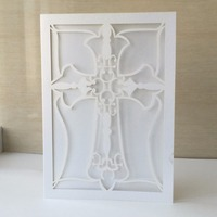 25pcs/lot Classic Style Wedding Invitations Cards & Laser Cut Crucifix design invites ,Printable / Customizable Cards
