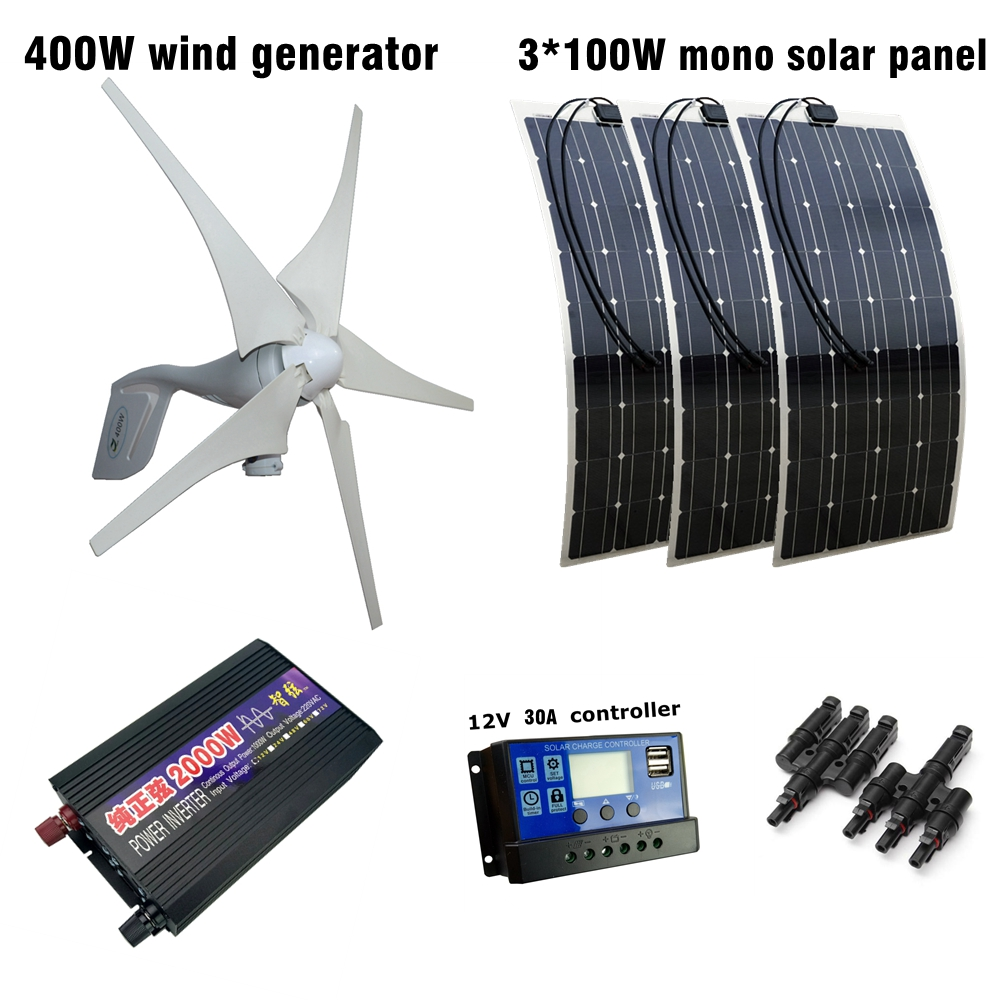 400W Wind Generator 3pcs 100W Flexible Solar Module with 30A Controller and 2000W Pure Sine Inverter 700W Solar Wind Solar Power 2017 new arrival 600w max 800w wind generator with 600w wind charge controller and 1000w pure sine wave inverter