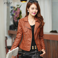 FTLZZ Plus Size 4XL Pu Leather Jacket Autumn Women Slim Motor Outwear Coat Zippers Roupas De Couro Female Elegant Punk Coat