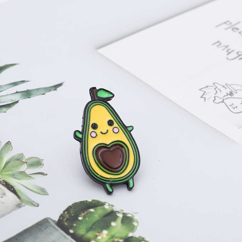 Cute Cartoon Avocado Pins Yellow face Love heart core Lapel enamel Brooches for women Fruit plant Jewelry Party Gift Pins Badges