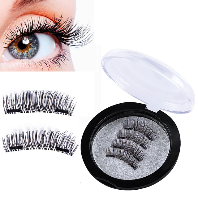f37ca9d9360 3D Magnetic Eyelash False New Easy Wear Double Magnets Full Strip Magnetic  Lashes Soft Hair Reusable Fake Eye Lashes 4pcs