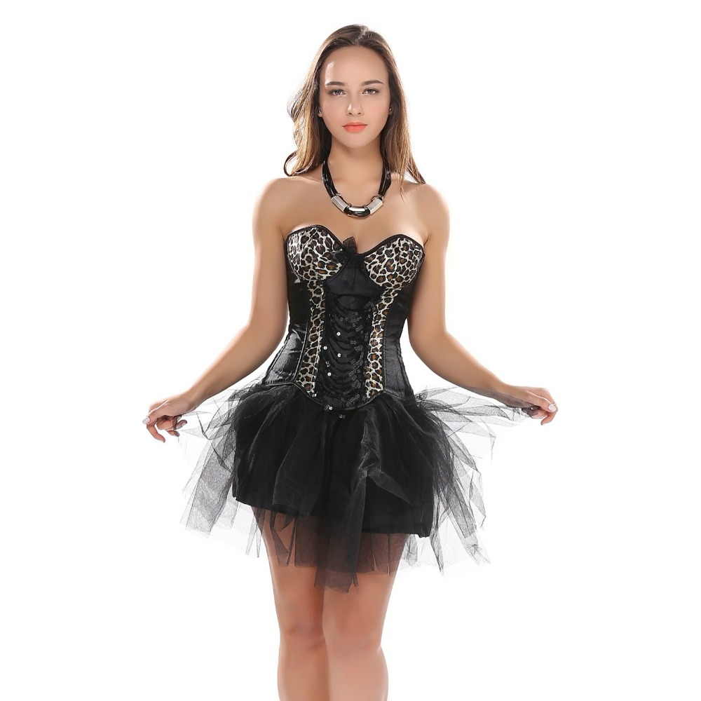 Women Leopard Corser Dress Satin Sequins Waist trainer Lace up boned Bustier Corset Top With tutu Skirts Free Shipping