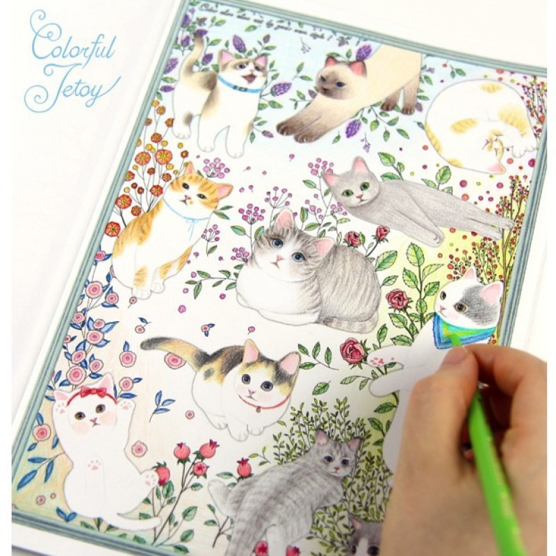 80pages(40sheets) cute cartoon cat coloring book for relieving stress kill time graffiti painting drawing book 80pages цена и фото