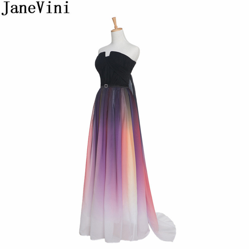 JaneVini Fashion Colorful   Bridesmaid     Dresses   Long Gradient A Line Sleeveless Wedding Party Gowns Plus Size Robe Femme Mariage
