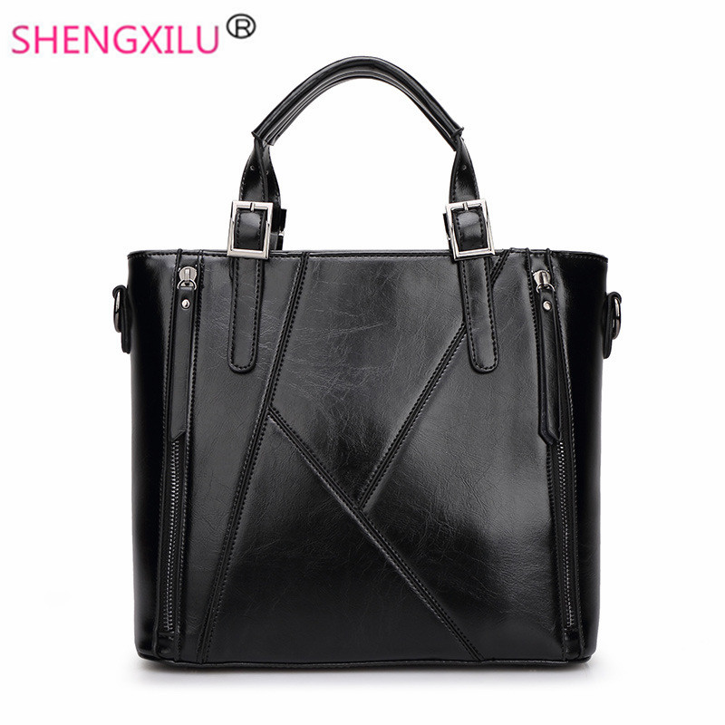 ФОТО Shengxilu genuine leather women handbags fashion girls bag brand ladies crossbody bags black messenger bags