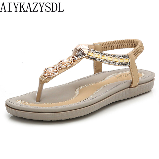 2baeafcca AIYKAZYSDL Women Flat Sandals Flip Flops Ethnic Metal Rivets String Bead  Pearl Elegant Wedding Bridal Shoes Flats Bohemia Sandal