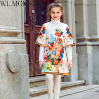 W L MONSOON Girls Winter Dress Half Sleeve 2017 Brand Christmas Dress Girl Clothing Flower Kids