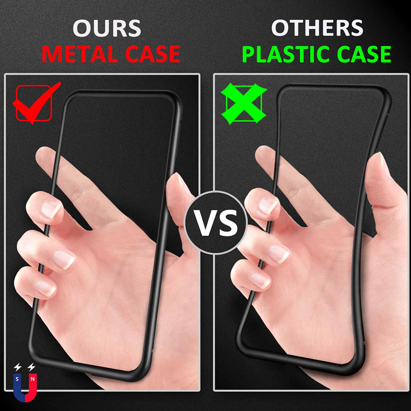 Luxury Magnetic Case For iPhone XR XS Max X iPhone 6 S 6S 5 5S 5SE 7 8 Plus 6Plus 7Plus 8Plus Mobile Phone tempered glass Cover in Fitted Cases from Cellphones Telecommunications