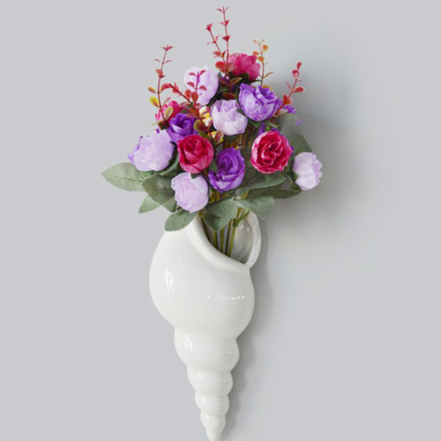 Modern White Ceramic Sea Shell Conch Flower Vase Wall Hanging Home Decor C