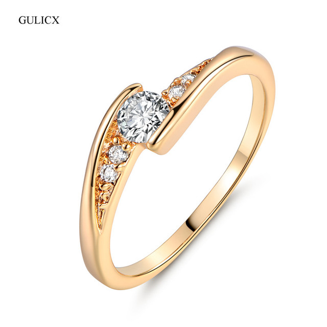 GULICX Fashion Finger Wedding Ring for Women Gold-color Round White Crystal Cubi