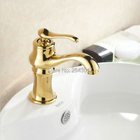 Luxury Golden Basin Mixer Bathroom Hot and Cold Water Taps Deck Mounted Single Hole Wash Basin Faucet Gold Plated ZR413