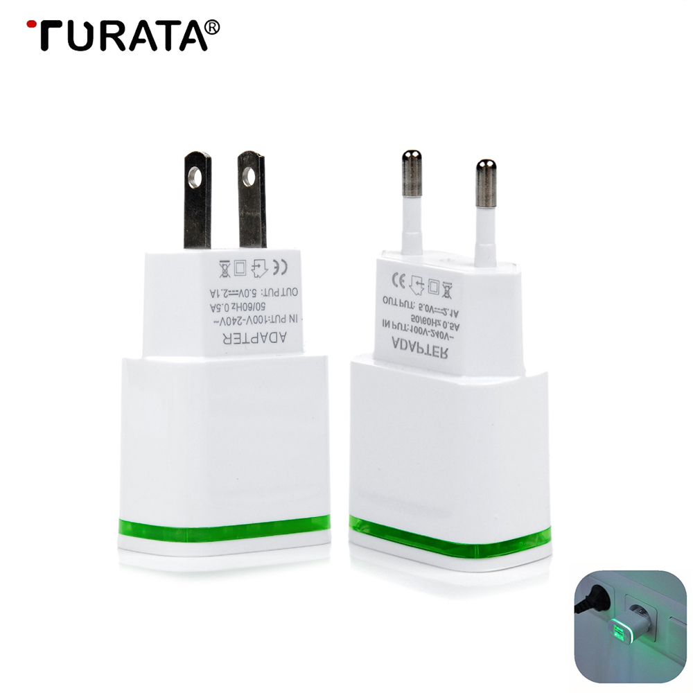 LED Display 2 USB Charger 5V 2.1A Universal Mobile Phone USB Charger Fast Charge Charging Wall Charger For iPhone Xiaomi Samsung