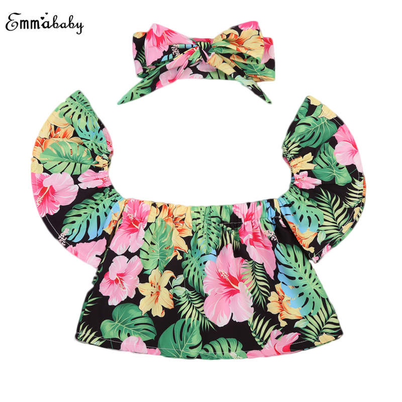 Infant Baby Girl Lotus Leaf Neck Off Shoulder Tank Top Tropical Plant Skirt Clothes Suit Set