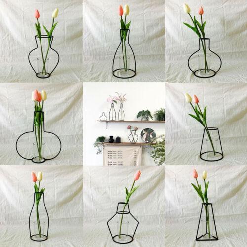 Image 3 - Creative Art Style Retro Iron Line Flowers Vase Metal Plant Holder Modern Solid Nordic Styles Iron Vase Home Art Garden Decor-in Vases from Home & Garden