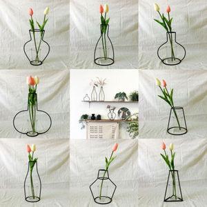 Image 3 - Creative Art Style Retro Iron Line Flowers Vase Metal Plant Holder Modern Solid Nordic Styles Iron Vase Home Art Garden Decor