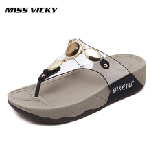 MISS VICKY 2019 new womens slippers rhinestone thick with flip-flops shoes
