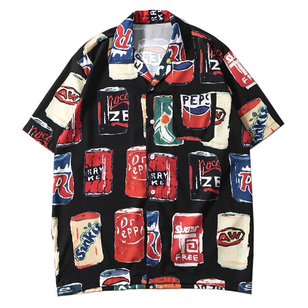 Fashion  Male Color Hawaiian Beach Shirts Summer Short Sleeve Printing Loose Vacation Shirts Lapel Ins Loose Shirt Vintage Shirt