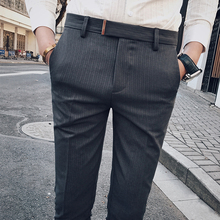 2019 Spring New Men's Casual Slim Bound Feet Ankle-length Trousers Tide Solid Color Stripe Western-style Suit Pants Male 28-34