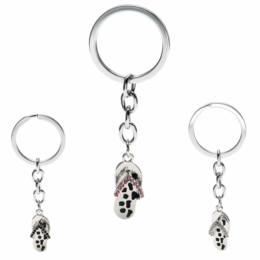 Always At Your Side Crystal Paw Print Flip Flop Sandal Charms Keychain Pet  Memorial Keyring For Cat Dog Lovers Women Men Gifts 314445a14