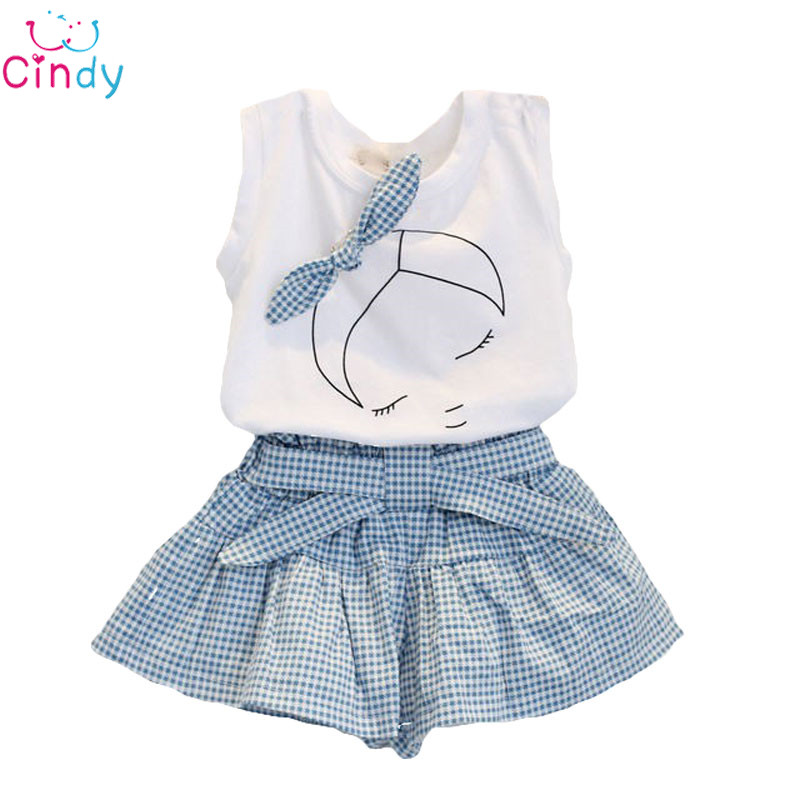 2016NEW 2PCS/1-7Years/Summer Style Baby Girls Clothing Sets Cute Cartoon 100% Cotton Sleeveless T-shirt+Shorts Band Kids Clothes
