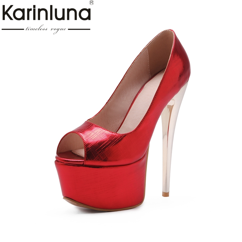 KarinLuna 2018 large size 33-48 peep toe thin high heels pumps shoes woman platform slip on party wedding pumps karinluna 2018 size 33 40 brand shoes women peep toe party women shoes sexy pumps platform high heels wedding shoes woman
