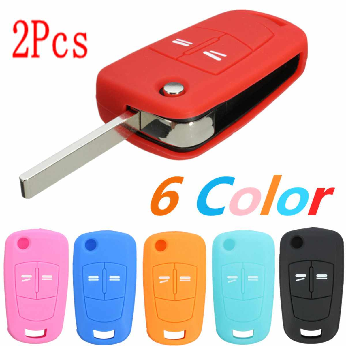 2Pcs Silicone 2 Button Flip Remote Key Case Fob Cover For Vauxhall Opel