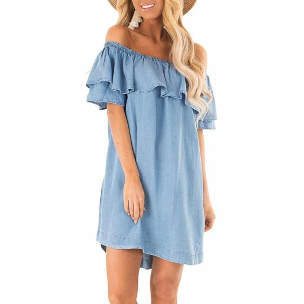 Модные женские летние сарафаны с открытыми плечами с коротким рукавом, женское платье с оборками, мини-платье из джинсовой ткани, повседневные пляжные платья #514