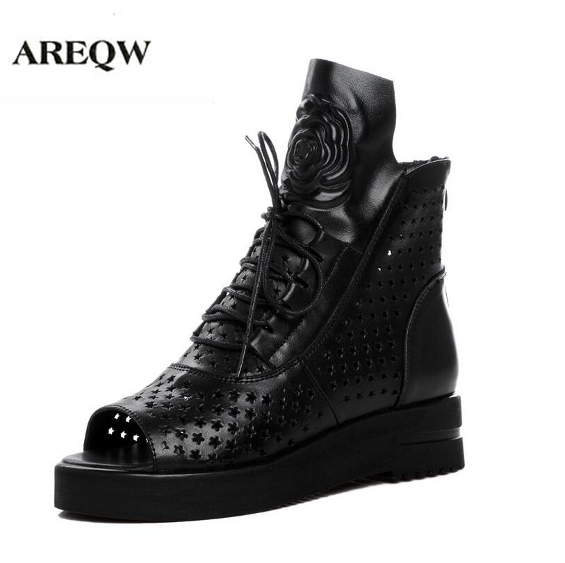 AREQW 2017 summer leather sandals flat shoes woman Large size Hollow cross lace fish mouth high shoes state high heels woman цены онлайн