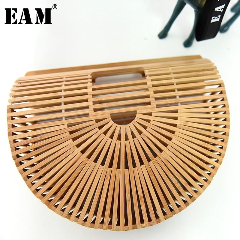 [EAM 2019 nueva moda Hllow fuera de la cubierta de bambú de paquete de tejido marea del todo-fósforo de personalidad accesorios YC77804